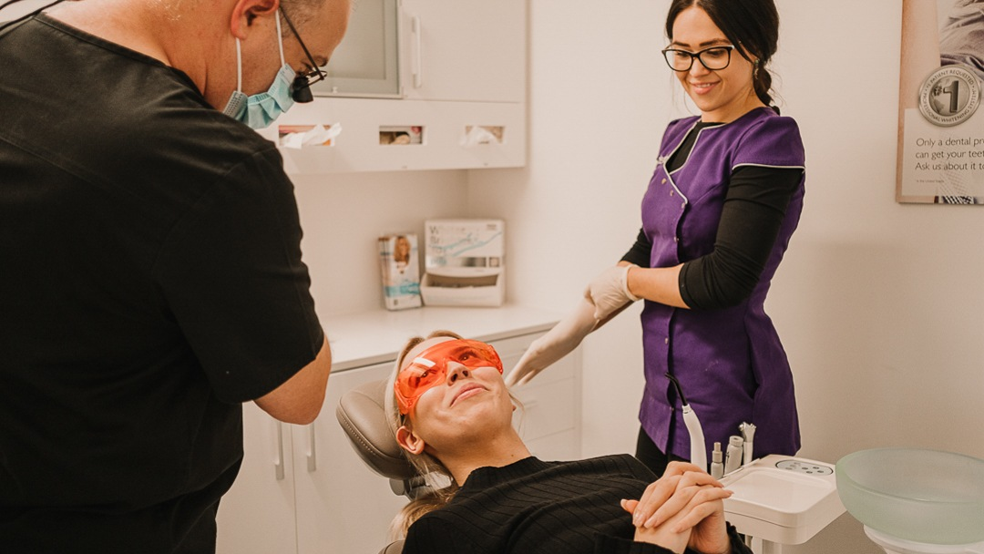 patient having cosmetic dental work at Dentique Dental Spa in Mt Lawley
